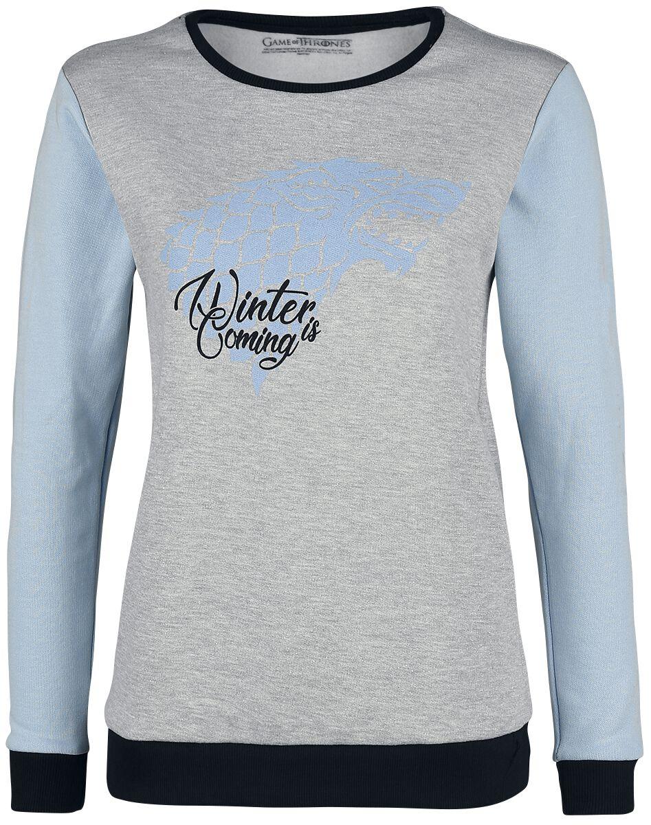 Oberteile - Game Of Thrones Haus Stark Winter Is Coming Sweatshirt grau meliert hellblau  - Onlineshop EMP