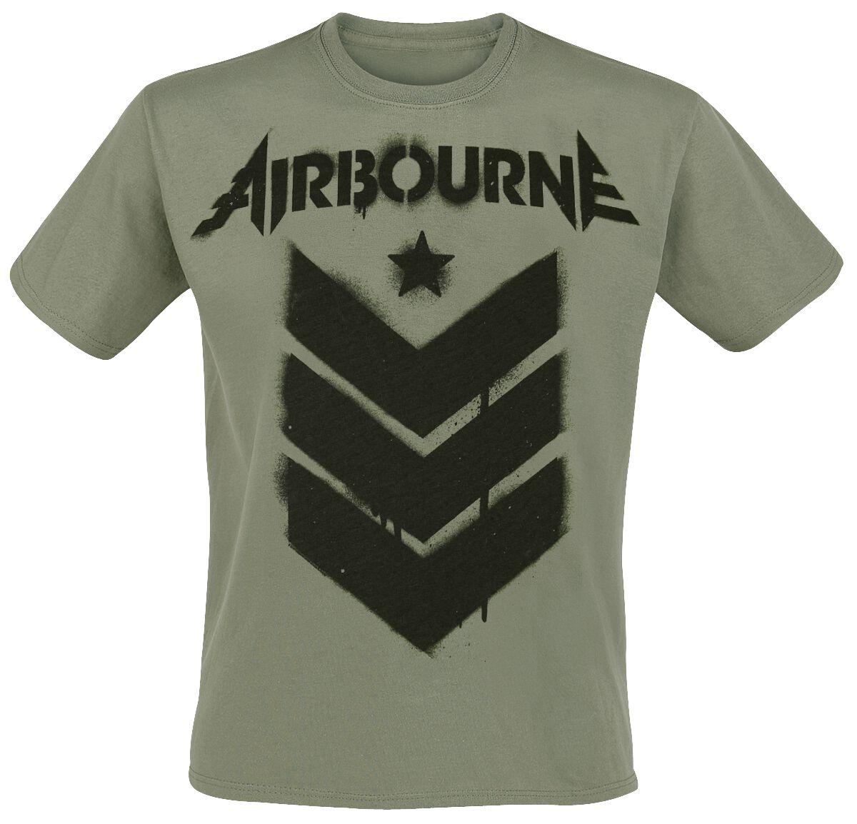 Image of Airbourne Stencil Stripes T-Shirt oliv