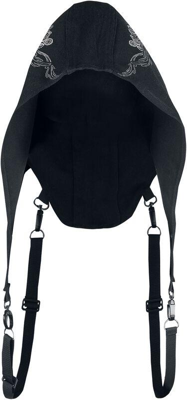 Schwarze Kapuze mit detailreichem Print