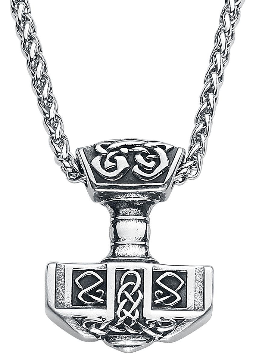 URBANTIMBER Thors Hammer mit Keltischen Knoten Halskette silberfarben 2115-SS