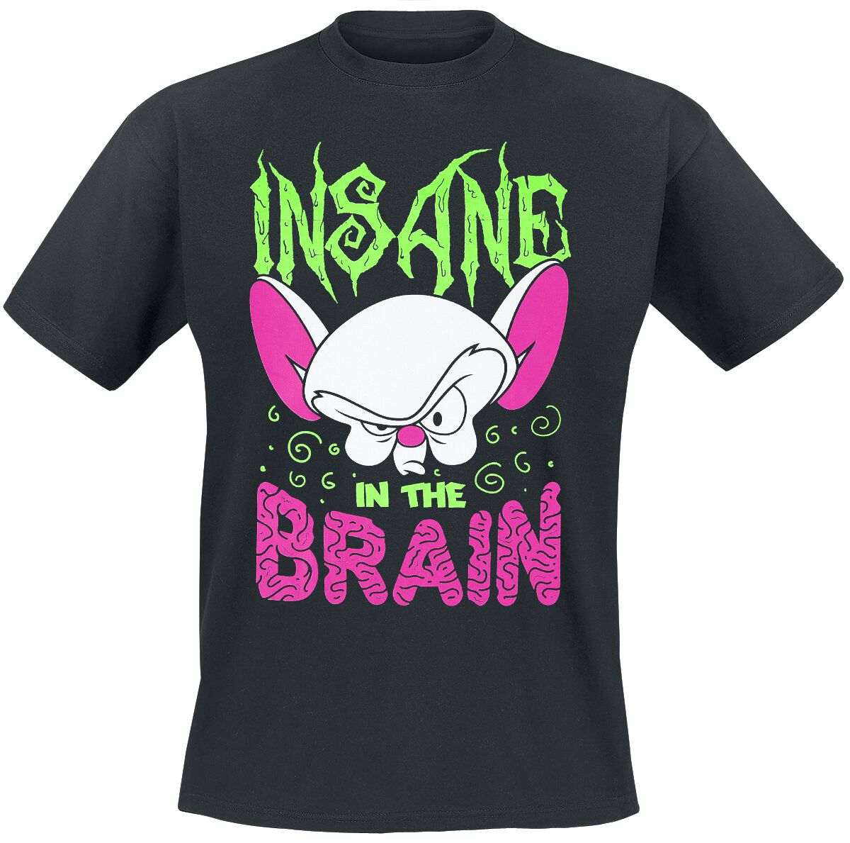 Image of Animaniacs Pinky And The Brain - Insane In The Brain T-Shirt schwarz
