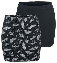 Schwarzes Doppelpack Röcke in uni und mit Print