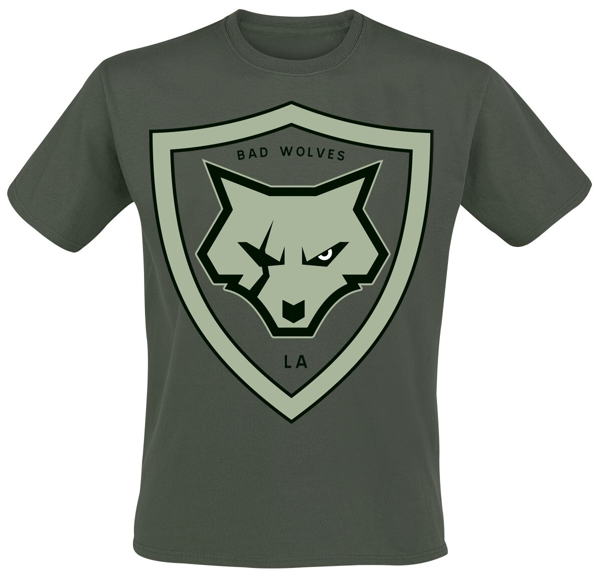 Image of Bad Wolves Paw Logo Shield T-Shirt khaki