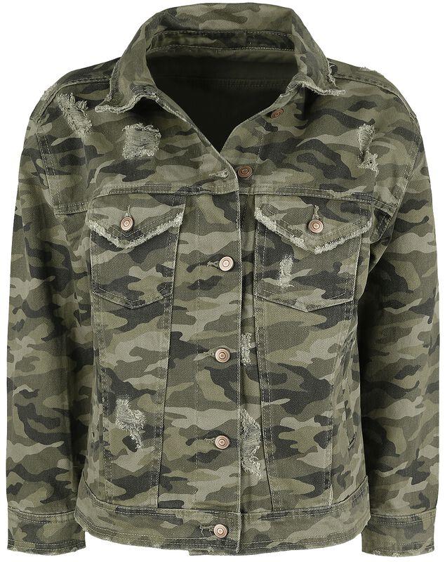 Camouflage Jeansjacke mit Destroyed Effekten