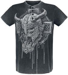 graues T-Shirt mit Waschung, Print und Knopfreihe