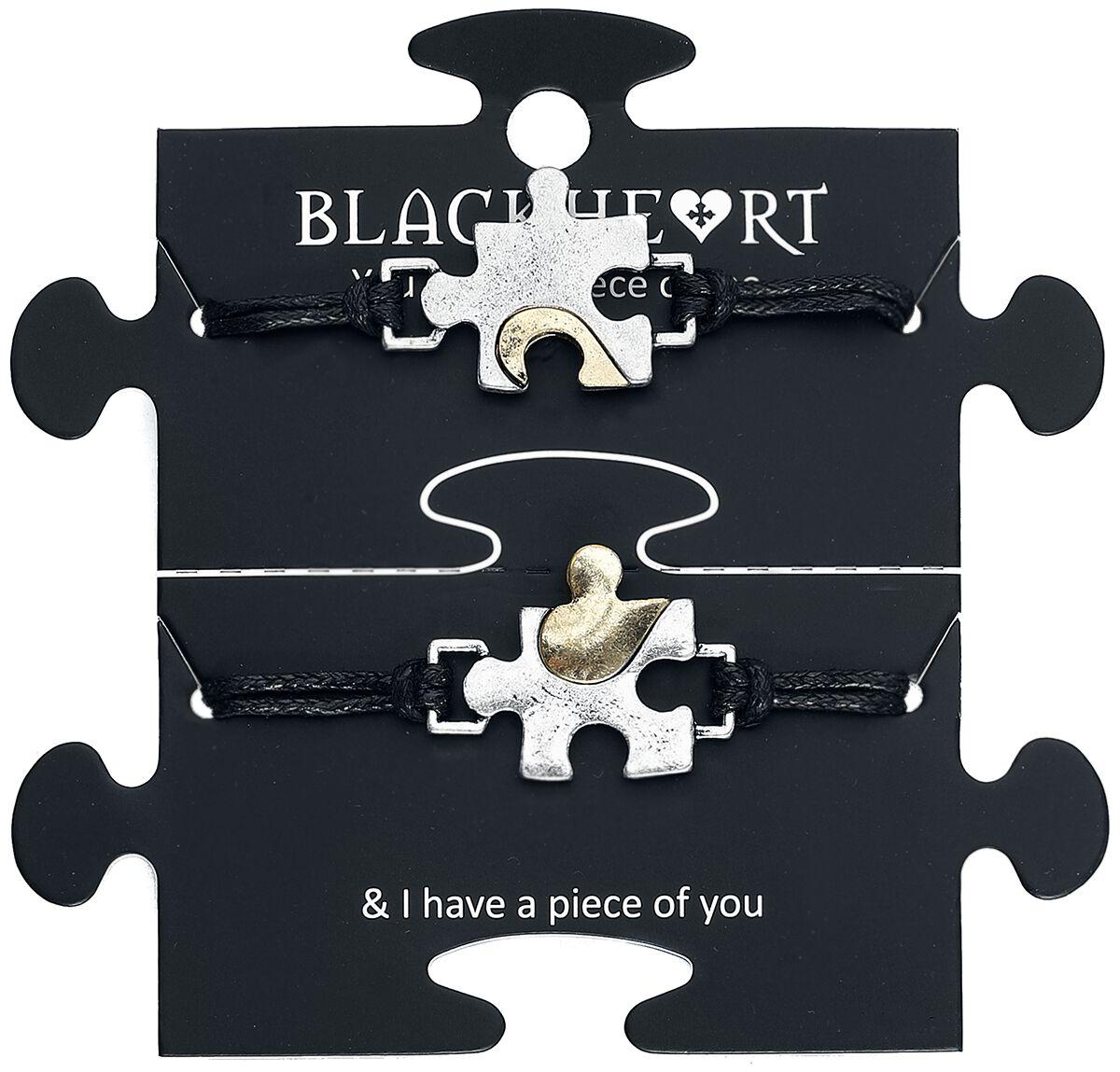 Image of Blackheart Puzzle Armband-Set schwarz/silberfarben