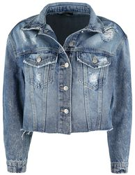 Blaue Jeansjacke mit Destroyed Effekten