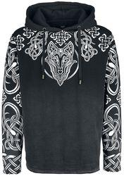 Schwarzer Kapuzenpullover mit detailreichem Print