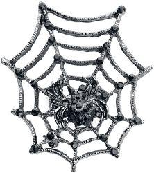 Spinnennetz mit Spinne als Brosche
