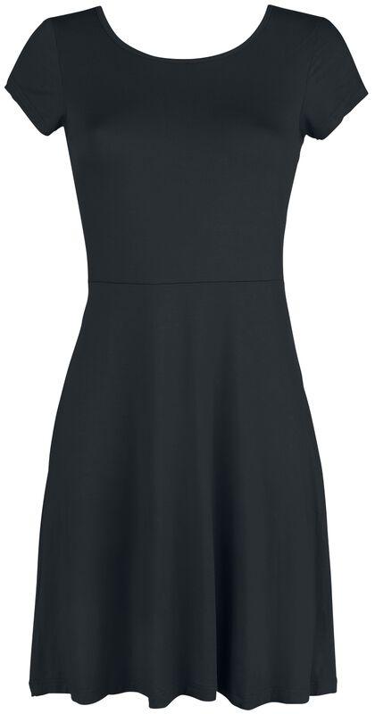 Schwarzes Kleid mit Rückenausschnitt und dekorativer Schnürung
