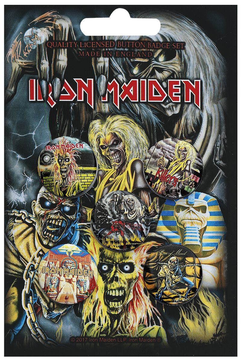 Image of Iron Maiden Early Albums Button-Pack multicolor