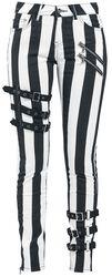 Schwarz- weiße Skinny Jeans mit Reißverschlüssen und Schnallen