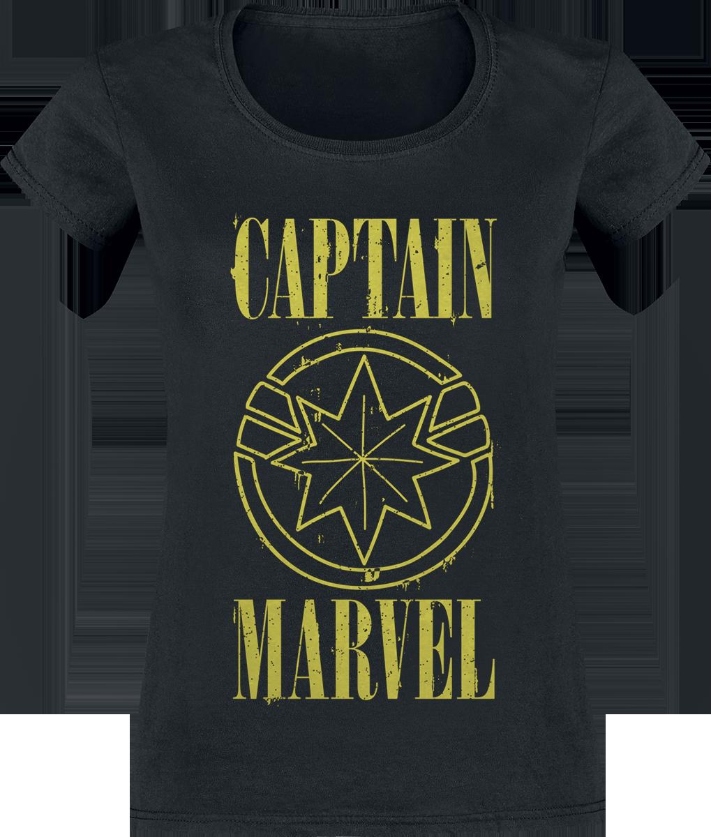 Captain Marvel - Yellow Logo - Girls shirt - black image