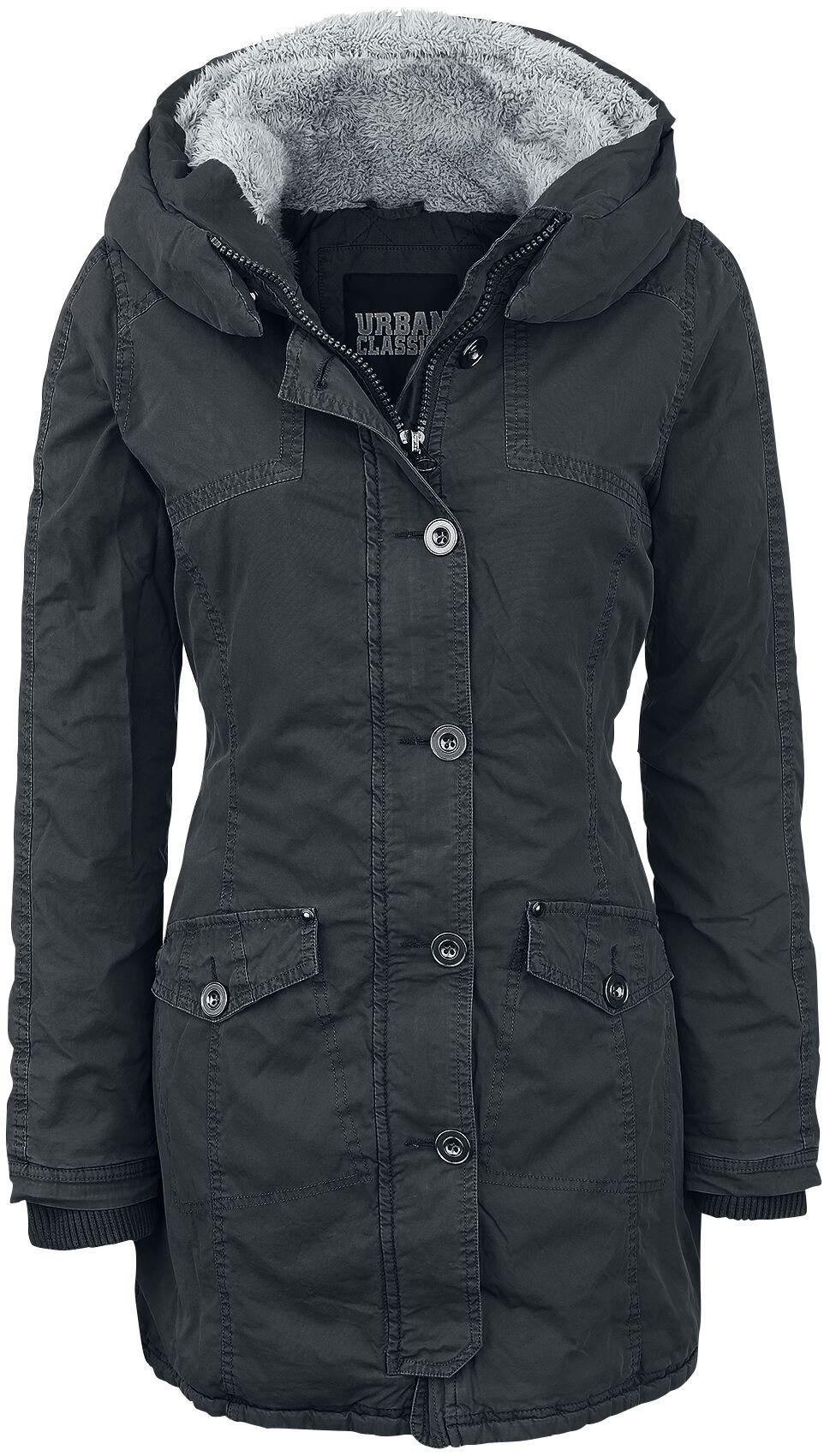 Jacken für Frauen - Urban Classics Ladies Garment Washed Long Parka Übergangsjacke schwarz  - Onlineshop EMP