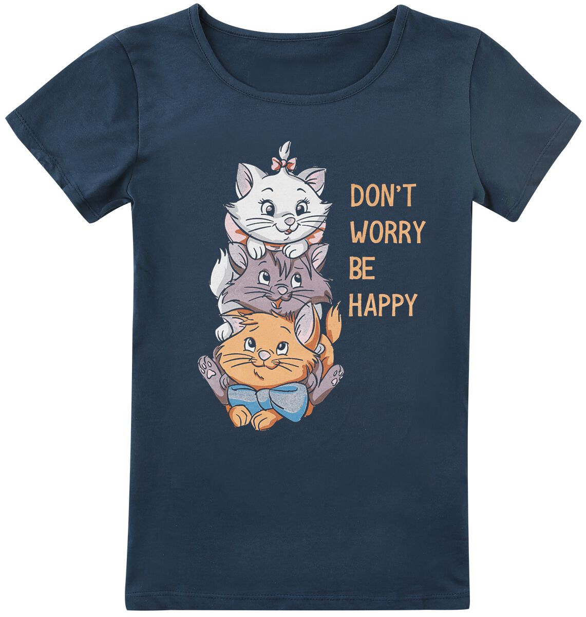 Image of Aristocats Don't Worry Be Happy Kinder-Shirt blau