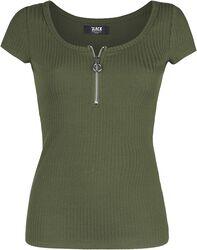 Grünes T-Shirt aus feinem Rippstoff
