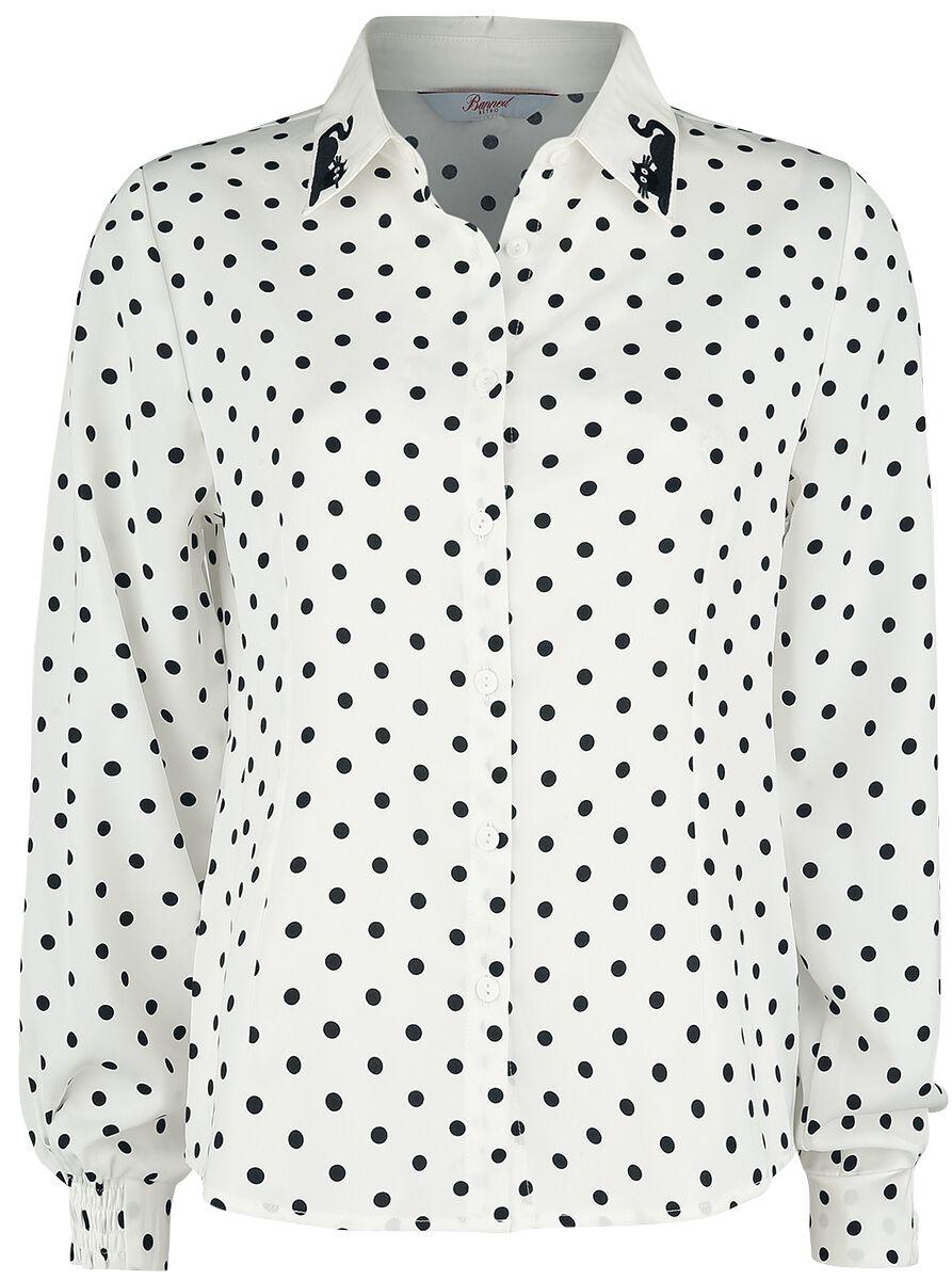Image of Banned Retro Collar Cat Blouse Bluse weiß/schwarz