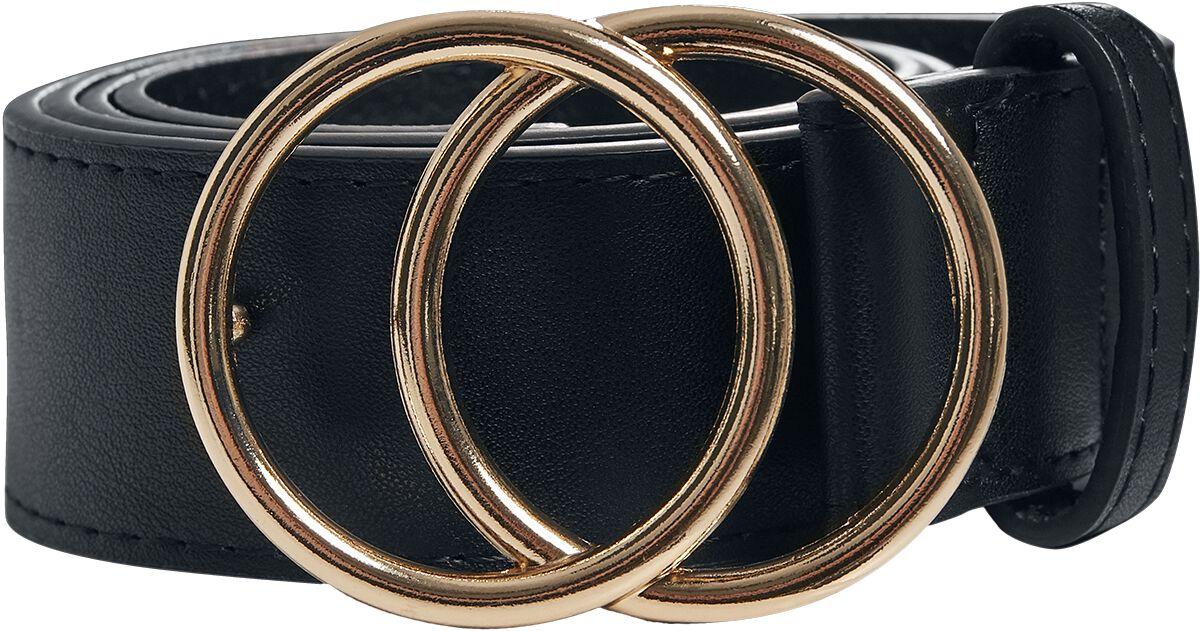 Guertel für Frauen - Urban Classics Ring Buckle Belt Gürtel schwarz gold  - Onlineshop EMP