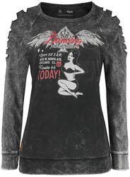 Rock Rebel X Route 66 - Grau/schwarzes Sweatshirt mit Pin-Up Print und Cut-Outs