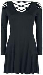 Schwarzes Kleid mit dekorativer Schnürung