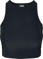 Ladies Cropped Shiny Rib Top