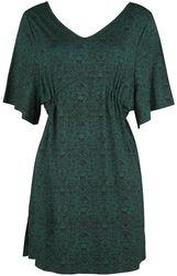 Dunkelgrünes Kleid mit Print, weiten Ärmeln und Raffung in der Taille