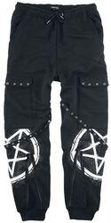 Schwarze lässige Hose mit Taschen, Riemen und Prints