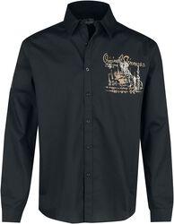 Schwarzes Langarmhemd mit Rückenprint