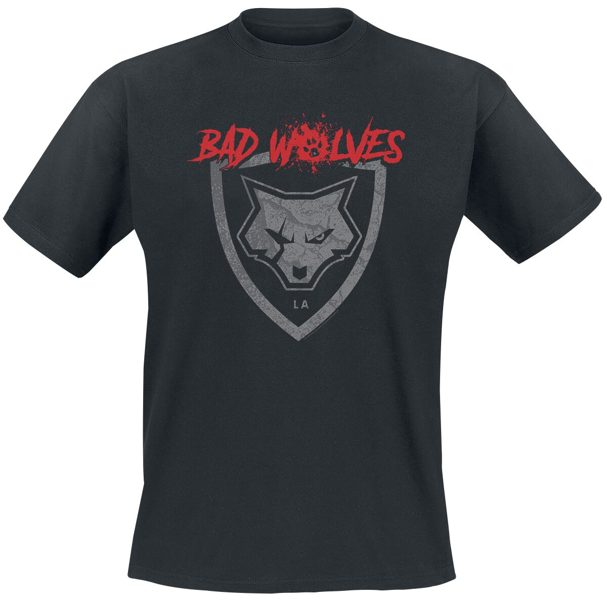Image of Bad Wolves Paw Logo Shield T-Shirt schwarz