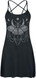 Schwarzes kurzes Kleid mit Print und Pentagramm-Trägern