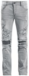 Destroyed Biker Zip Jeans