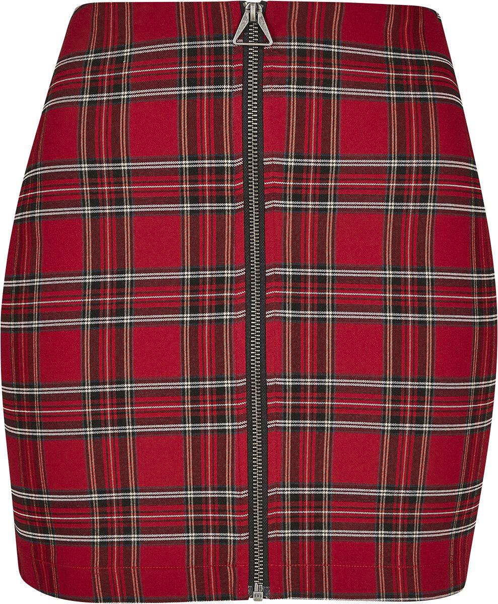 Roecke - Urban Classics Ladies Short Checker Skirt Kurzer Rock rot schwarz  - Onlineshop EMP