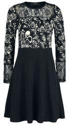 Schwarzes langärmliges Kleid mit Spitze und Print