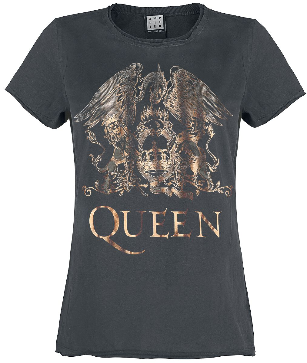 Queen Amplified Collection - Metallic Edition - Royal Crest T-Shirt charcoal