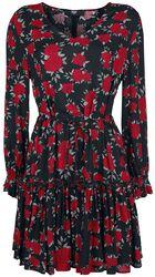 Schwarz/rotes Kleid mit floralem Alloverprint