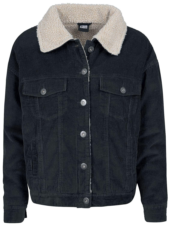 Jacken für Frauen - Urban Classics Ladies Oversize Sherpa Corduroy Jacket Übergangsjacke schwarz  - Onlineshop EMP