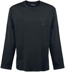 schwarzes Langarmshirt mit Stickerei auf der Brust