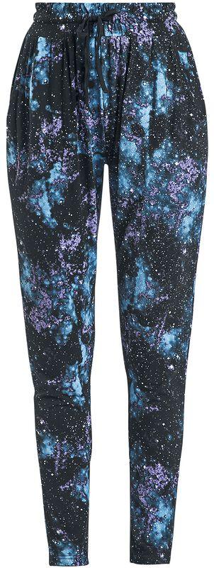 Schwarze lässige Hose mit Galaxy-Print