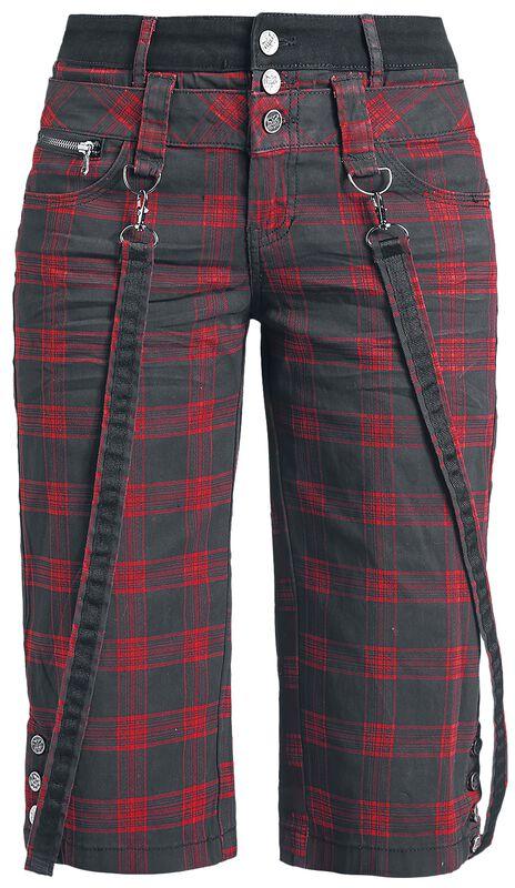 Karierte Shorts mit dekorativen Hosenträgern Black Premium