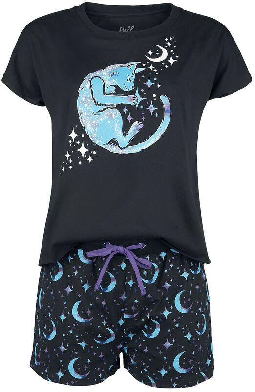 Kurzer Pyjama mit Katzen und Galaxy Print