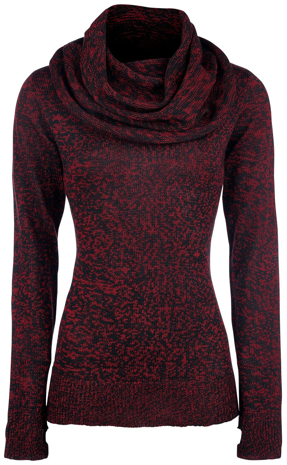 Image of Black Premium by EMP Up The Neck Pullover donna nero/rosso