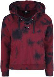 Rot/schwarzer Kapuzenpullover im Batik-Look und mit Schnürung