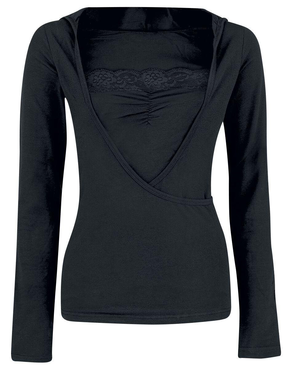 Basics - Bluzy z kapturem - Longsleeve z kapturem damski Fashion Victim Lace Wickel Hoodie Longsleeve z kapturem damski czarny - 134946