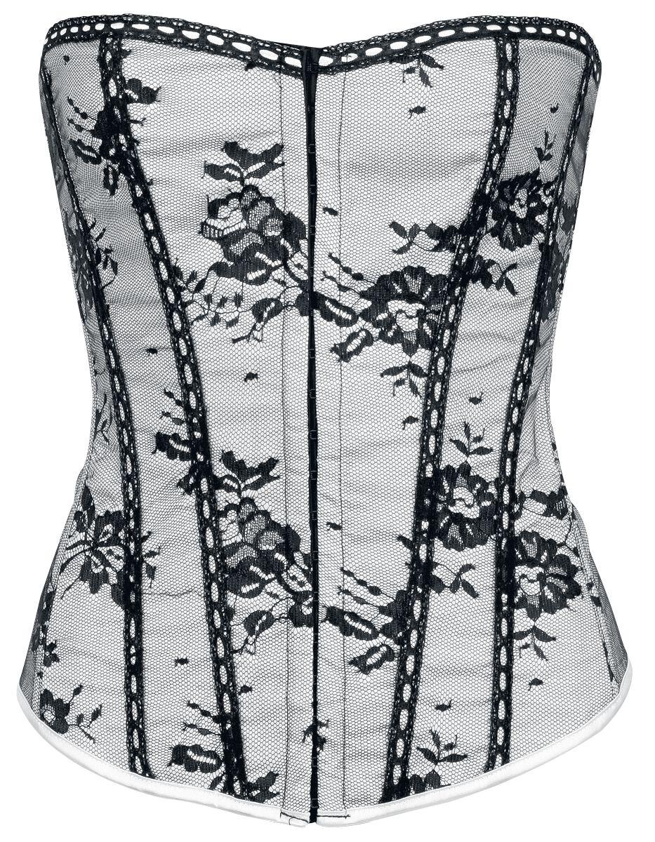 Marki - Gorsety - Gorset - Corsage Alcatraz Pimpernell Corset Gorset - Corsage biały/czarny - 168143