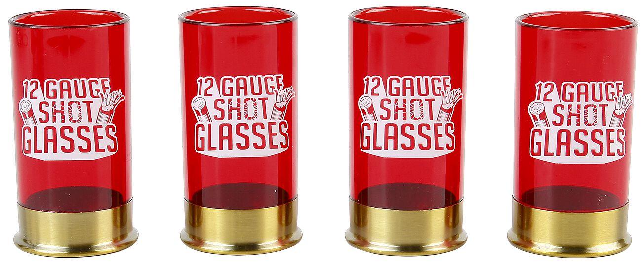 Image of   12 Gauge shotglas Shotglas, sæt rød/guld