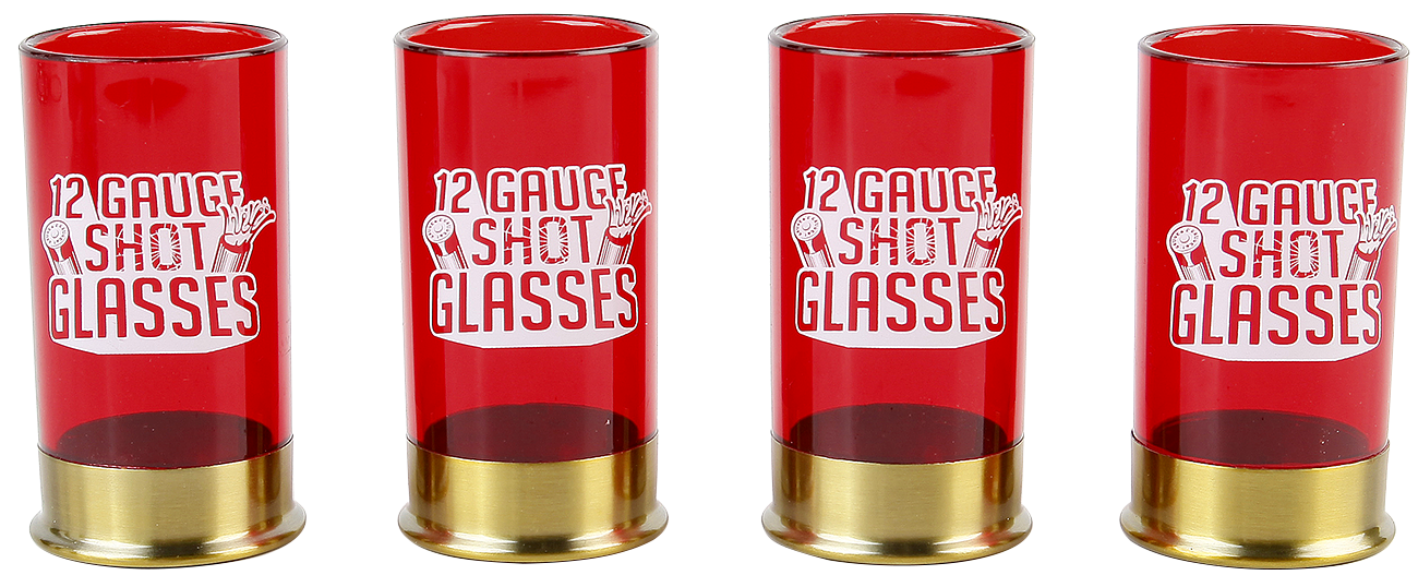 12 Gauge Shot Glasses - - Shotglasses set - red-gold