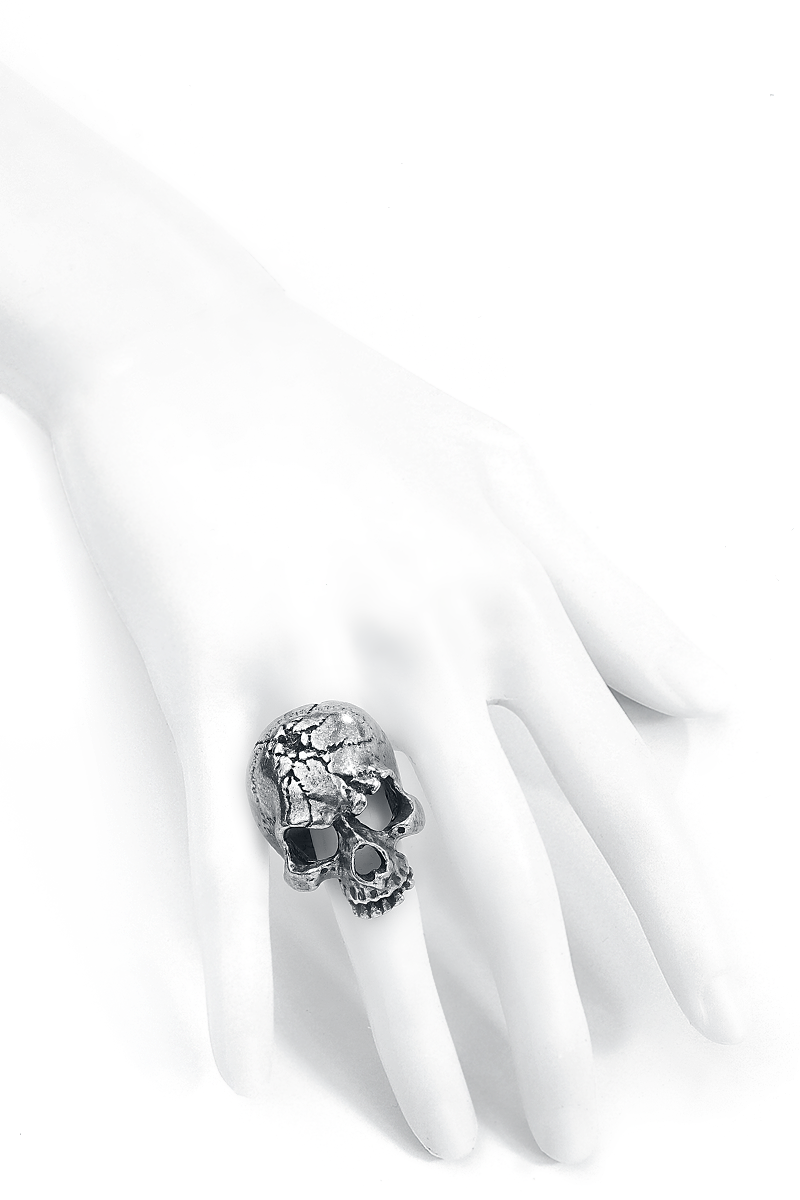 Image of Alchemy Metal-Wear Ruination Skull Ring Ring silberfarben