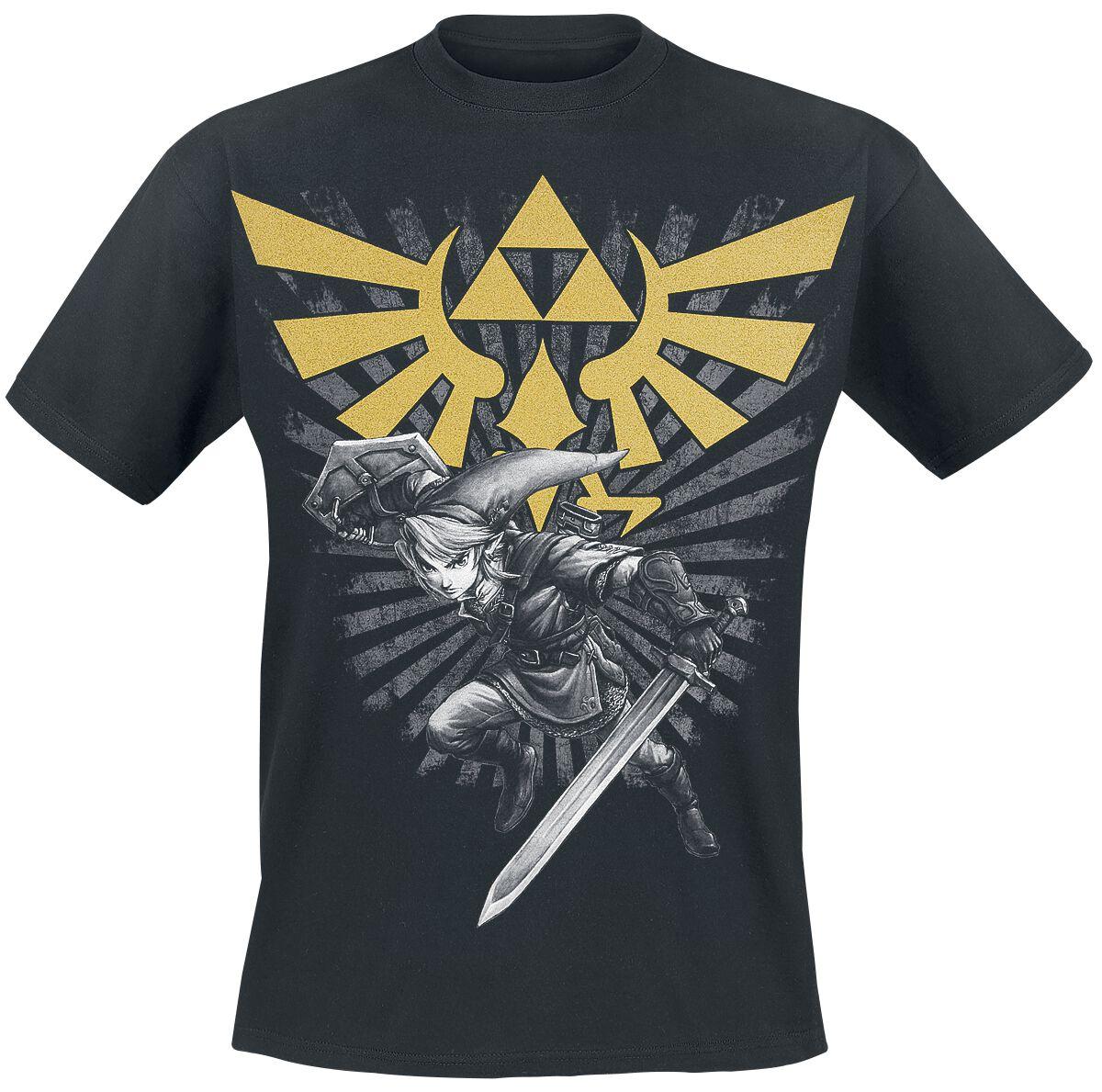 Image of   The Legend Of Zelda Triforce Link T-Shirt sort