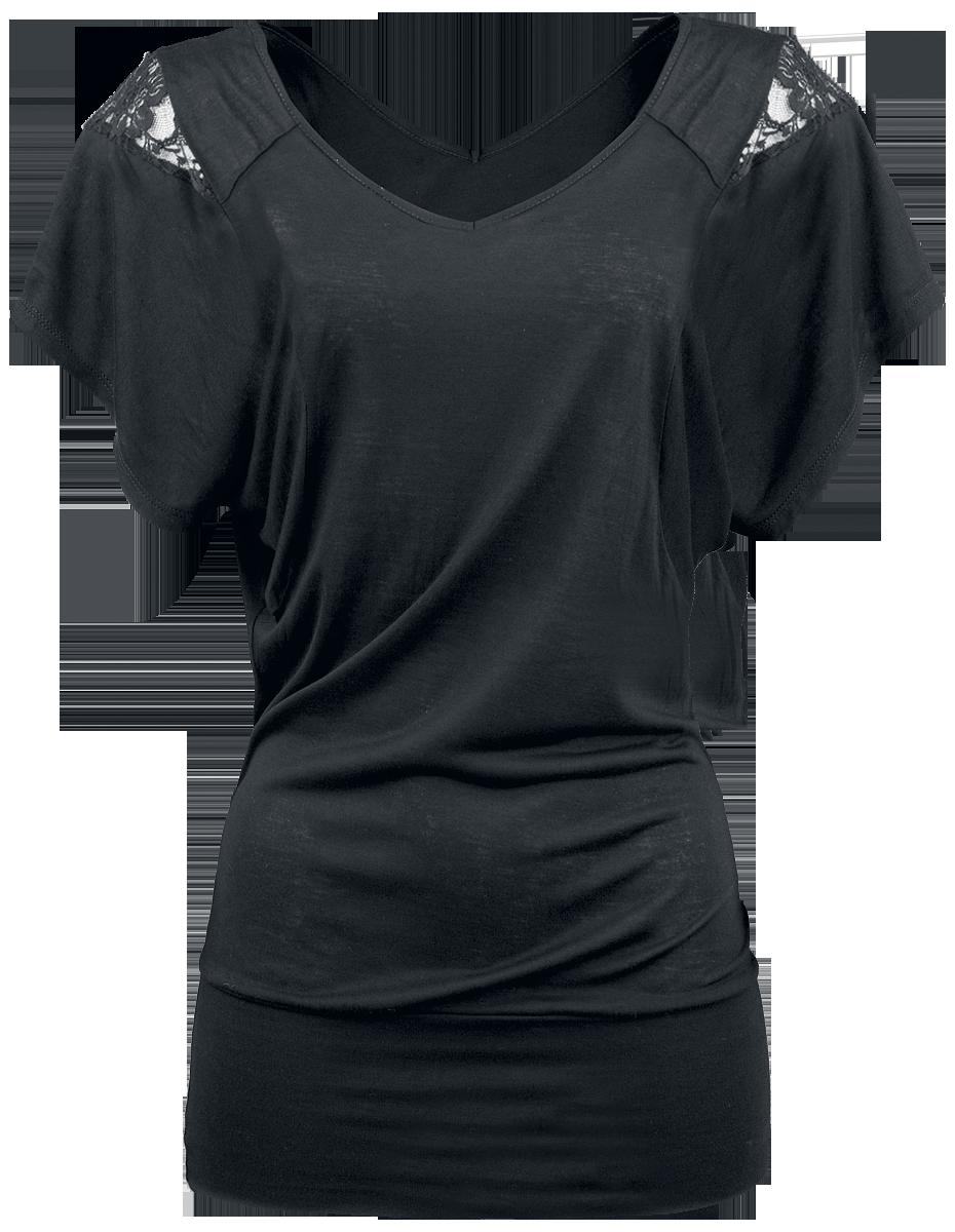 Fashion Victim Laced Shoulder Koszulka damska czarny