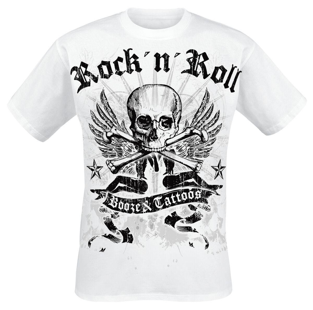 Motyw - Koszulki - T-Shirt Booze & Tattoos T-Shirt biały - 239458